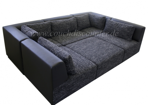 couchgarnitur sofa wohnlandschaft verstellbar in strukturstoff 2 farbig neu ovp ebay. Black Bedroom Furniture Sets. Home Design Ideas